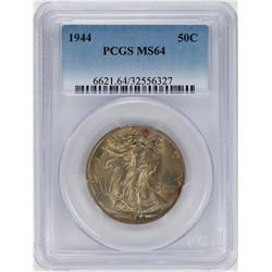 1944 Walking Liberty Half Dollar Coin PCGS MS64 Nice Toning