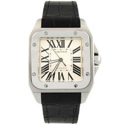 Cartier Mens Santos 100 Stainless Steel 41x51mm Silver Roman Dial Watch