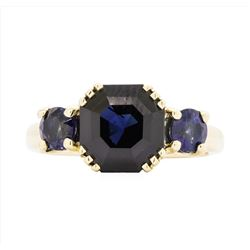 14KT Yellow Gold Ladies 5.50 ctw Blue Sapphire Ring