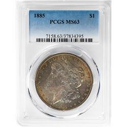 1885 $1 Morgan Silver Dollar Coin PCGS MS63 Amazing Toning