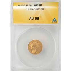 1925-D $2 1/2 Indian Head Quarter Eagle Gold Coin ANACS AU58