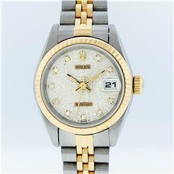 Rolex Ladies Two Tone 14K Cream Diamond 26MM Datejust Wristwatch
