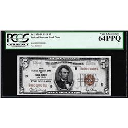 Low Serial #8 - 1929 $5 Federal Reserve Bank Note New York PCGS Very Choice New 64PPQ