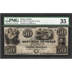 1839-41 $50 Republic of Texas Obsolete Note CRA7 PMG Choice Very Fine 35