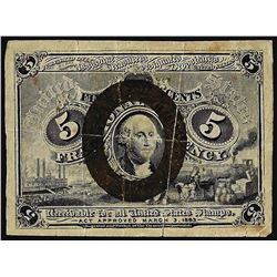 March 3, 1863 Second Issue Five Cent Fractional Currency Note