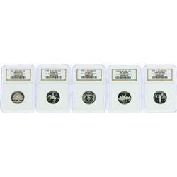 Lot of (5) 1999-S State Quarter Silver Coins NGC PF69 Ultra Cameo