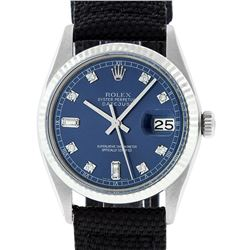 Rolex Mens Stainless Steel Blue Diamond 36MM Datejust Wristwatch With Nylon Strap