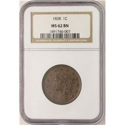 1838 Coronet Hair Large Cent Coin NGC MS62BN