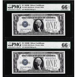 (2) Consecutive 1928B $1 Silver Certificate Notes Fr.1602 PMG Gem Uncirculated 66EPQ