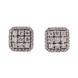 14KT White Gold 0.81 ctw Diamond Square Cluster Earrings
