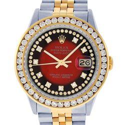 Rolex Mens Two Tone Red Vignette VS 3 ctw Channel Set Diamond Datejust Wristwatch