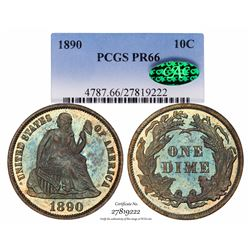 1890 Proof Seated Liberty Dime Coin Arrows PCGS PR66 CAC Amazing Toning