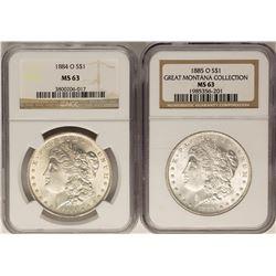Lot of 1884-O & 1885-O $1 Morgan Silver Dollar Coins NGC MS63