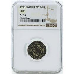 1798 Switzerland 1/2 Batzen Coin NGC XF45