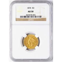 1874 $3 Indian Princess Head Gold Coin NGC AU50