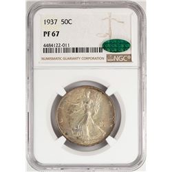1937 Proof Walking Liberty Half Dollar Coin NGC PF67 CAC