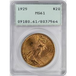 1925 $20 St. Gaudens Double Eagle Gold Coin PCGS MS61 Green Rattler Holder