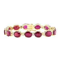 14KT Rose Gold 45.00 ctw Ruby and Diamond Bracelet