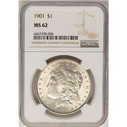 1901 $1 Morgan Silver Dollar Coin NGC MS62
