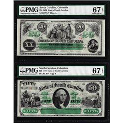 Low Serial Set 1872 $20 & $50 South Carolina Obsolete Notes PMG Superb Gem Unc. 67EPQ