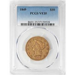 1849 $10 Liberty Head Eagle Gold Coin PCGS VF35
