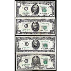Lot of 1963A $10/$20/$20/$50 Federal Reserve Star Notes