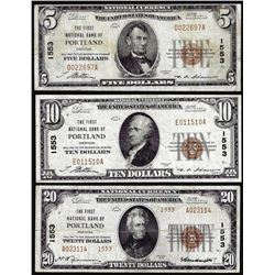 Set of 1929 $5/$10/$20 NB Portland, OR CH# 1553 National Currency Notes