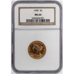1900 $5 Liberty Half Eagle Gold Coin NGC MS64