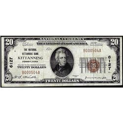 1929 $20 Bank of Kittanning, Pennsylvania CH# 6127 National Currency Note