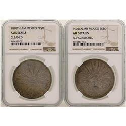 Lot of 1898CN & 1904CN Mexico Pesos Silver Coins NGC Graded AU Details