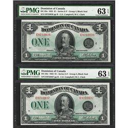 (2) Consecutive 1923 $1 Dominion of Canada Notes DC-25o PMG Choice Uncirculated 63EPQ