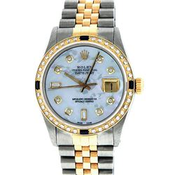 Rolex Men's Two Tone 14K Mother Of Pearl Diamond & Sapphire Datejust Wristwatch