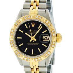Rolex Ladies Two Tone 14K Black Index & Pyramid Diamond Datejust Wristwatch