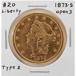 1873-S Open 3 $20 Liberty Head Double Eagle Gold Coin