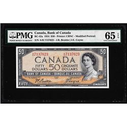 1954 $50 Bank of Canada Note BC-42a PMG Gem Uncirculated 65EPQ