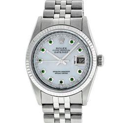 Rolex Men's Stainless Steel Mother Of Pearl Diamond & Emerald Datejust Wristwatch