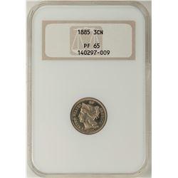 1885 Proof Three Cent Nickel Coin NGC PR65
