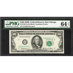 1950E $100 Federal Reserve Note Chicago Fr.2162-G PMG Choice Uncirculated 64EPQ