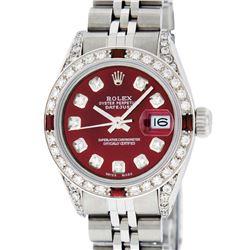 Rolex Ladies Stainless Steel Diamond Lugs & Ruby Datejust Wristwatch