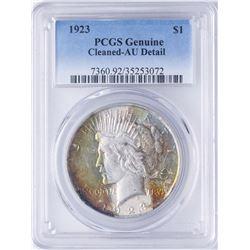 1923 $1 Peace Silver Dollar Coin PCGS AU Details AMAZING Color