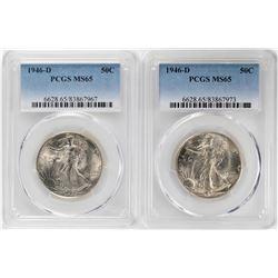 Lot of (2) 1946-D Walking Liberty Half Dollar Coins PCGS MS65