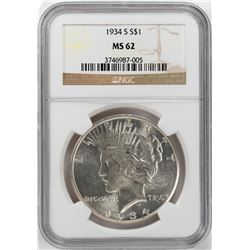 1934-S $1 Peace Silver Dollar Coin NGC MS62
