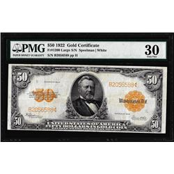 1922 $50 Gold Certificate Note Fr.1200 PMG Very Fine 30