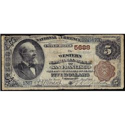 1882BB $5 Western NB of San Francisco, CA CH# 5688 National Currency Note