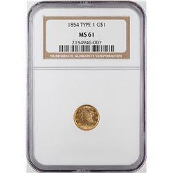1854 Type 1 $1 Liberty Head Gold Dollar Coin NGC MS61