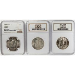 Lot of 1945-D to 1947-D Walking Liberty Half Dollar Coins NGC MS65
