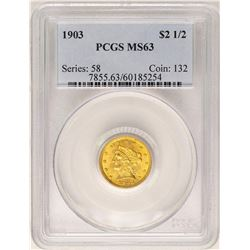 1903 $2 1/2 Liberty Head Quarter Eagle Gold Coin PCGS MS63