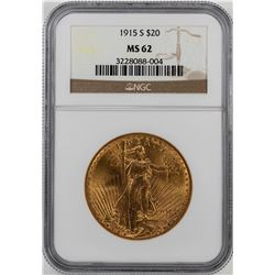 1915-S $20 St. Gaudens Double Eagle Gold Coin NGC MS62