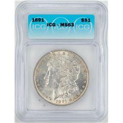 1891 $1 Morgan Silver Dollar Coin ICG MS63