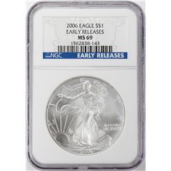 2006 $1 American Silver Eagle Coin NGC MS69 Early Releases